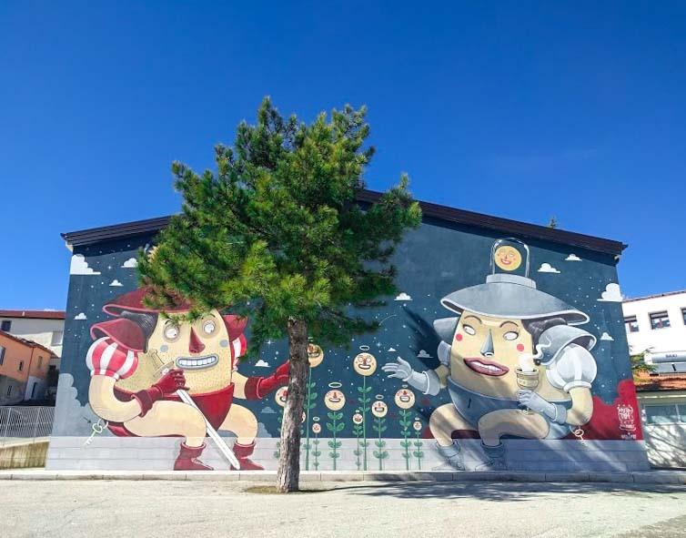 rappresentazione dell'amore con murales