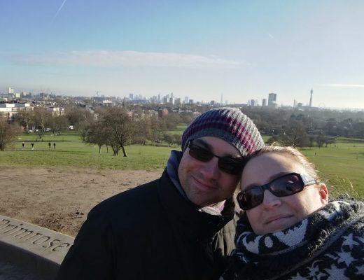 selfie con panorama su Londra