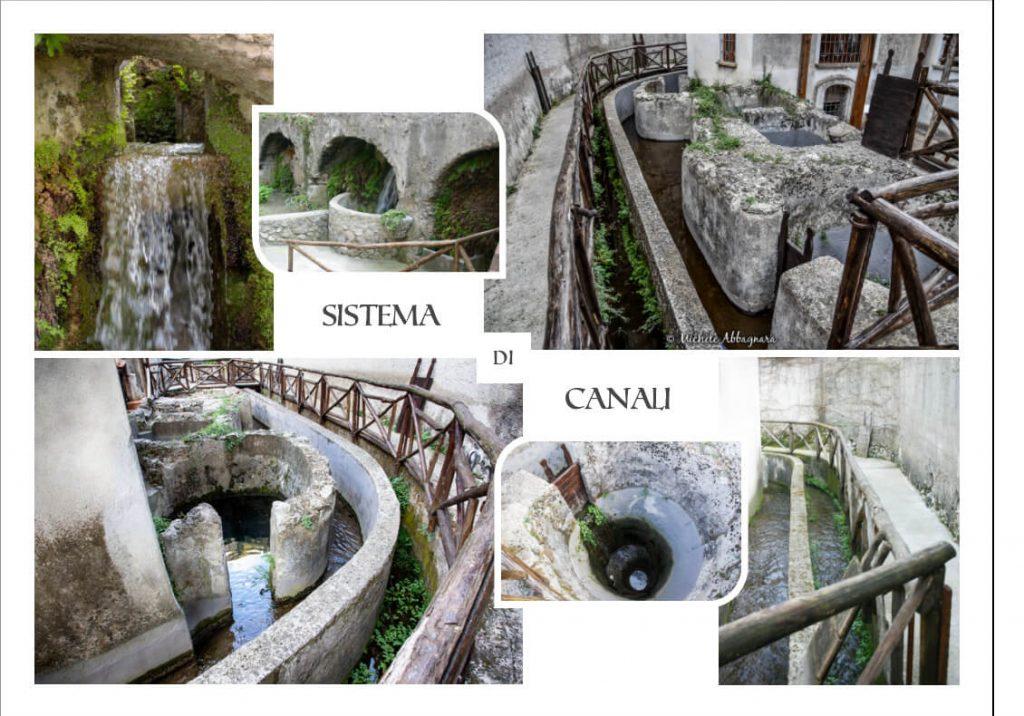 Sistema di canali esterni usati come forza motrice per i macchinari dell'Antica Cartiera Amalfitana