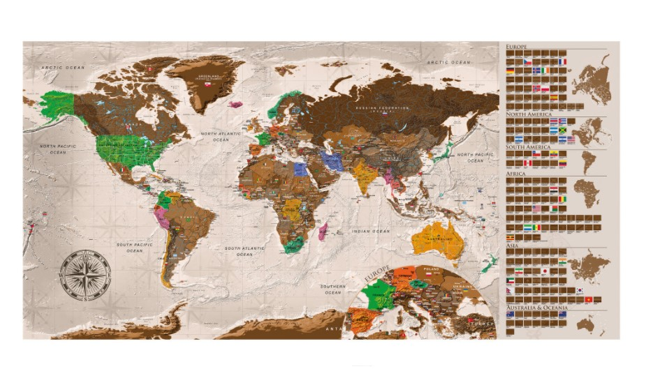 Scartchmap da grattare: uno dei regali per viaggiatori più gettonati