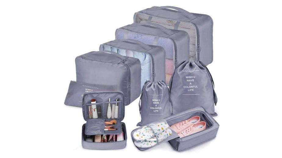Organizzatori da viaggio per valigia. Set di separatori e sacchetti
