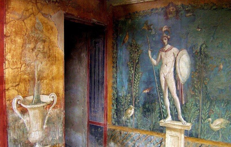 Alcuni degli affreschi presenti all'interno del sito archeologico di Pompei