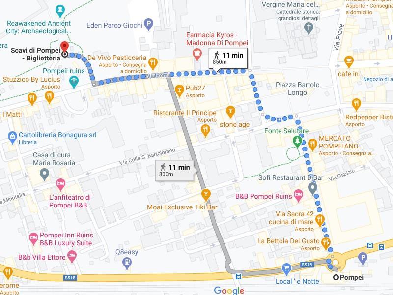 Il percorso a piedi da seguire per andare dalla stazione ferroviaria di Pompei agli scavi.